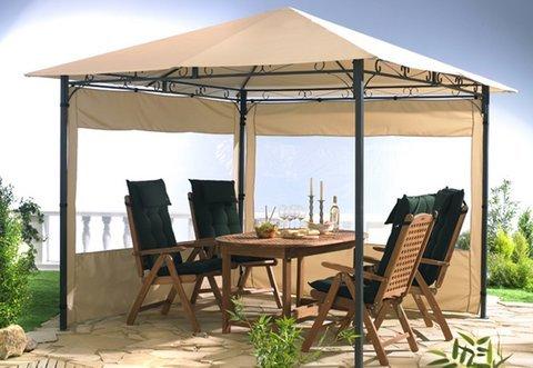 GRASEKAMP Qualität seit 1972 2 Seitenteile zu Gartenpavillon Antik Pavillon Partyzelt 3x3m Sand
