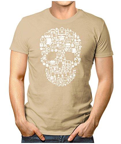 PRILANO Herren Fun T-Shirt - DEAD-SCHOOL-SKULL - Small bis 5XL - NEU Khaki