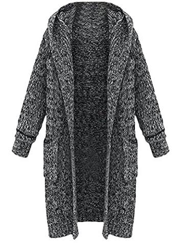 MatchLife Femme Cardigan Pull ouvert à manches longues Chaud Poncho Gilet en Tricot Lourd-Noir-S