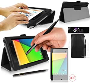 Google NEXUS 7 ii Tablet Case - BLACK - G-HUB PropUp Stand Case with Built-In Auto Standby Feature (Instant Wake / Sleep Sensor Functionality) - Faux Leather Flip Cover with Magnetic Lid & Integrated PropUp Stand - Fits Nexus 7 v2 - July 2013 Release (All Models Including: 16GB / 32GB , 3G / 4G , BlueTooth 4.0 / LTE / WiFi models, etc.) - Includes BONUS: G-HUB ProPen Stylus PLUS 2x SCREEN PROTECTORS