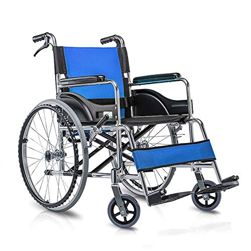 GXYGWJ Rollstuhl, zusammenklappbar, tragbar, mit Handbremse, robuster Reifen-Transport, sparsam und leicht, selbstfahrend