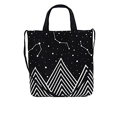 Canvas Tote Bag Black Printed Design with