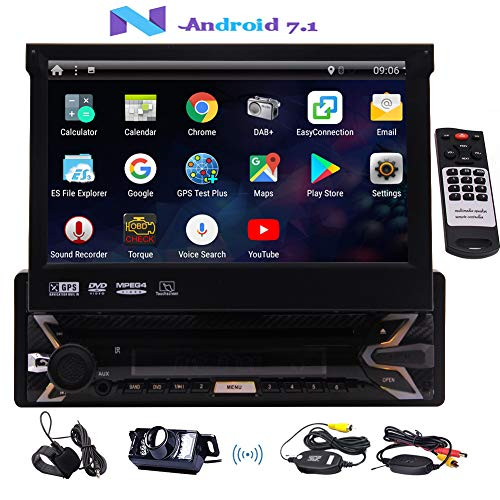 EINCAR Autoradio mit Backup-Kamera 7-Zoll-Autoradio Android 7.1 Auto DVD-Player Single 1 Din Touch Screen Integrierte Bluetooth-GPS-Navigation für Auto mit externem Mikrofon Wireless Remote