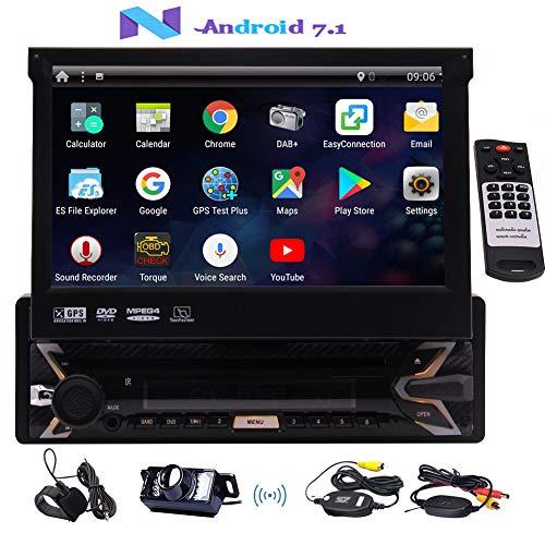 EINCAR Autoradio mit Backup-Kamera 7-Zoll-Autoradio Android 7.1 Auto DVD-Player Single 1 Din Touch Screen Integrierte Bluetooth-GPS-Navigation für Auto mit externem Mikrofon Wireless Remote (Einzel-din Auto Stereo Cd-player)
