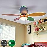 Ventilateur de plafond avec lampe 'Corinna' (Chambre d'enfant) en Multicolore en Bois e. a. pour Chambre d'enfant (1 lampe,à E14, A++) de Lampenwelt | Ventilateur