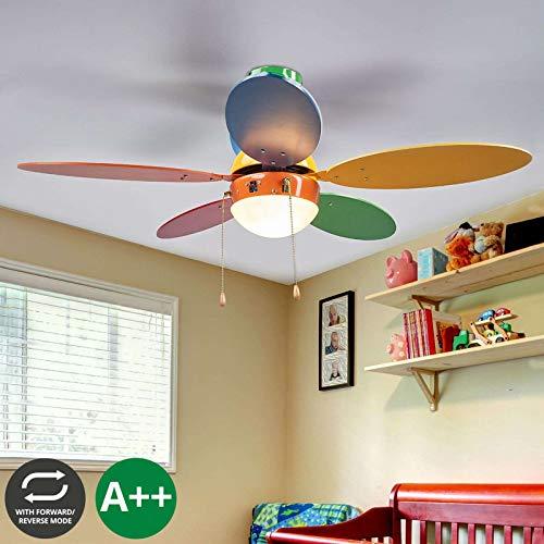 Lampenwelt Deckenventilator mit Lampe 'Corinna' (Für Kinder) aus Holz u.a. für Kinderzimmer (1 flammig, E14, A++) - Ventilator, Kinderzimmerleuchte (Bad-leuchte Mit Ventilator)