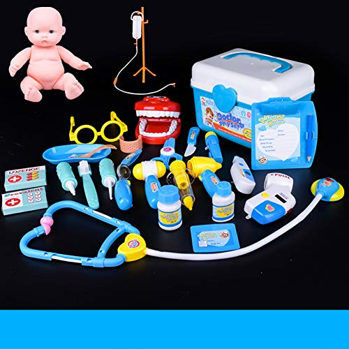Queta Kinder Early Learning Puzzle House Series Toys Medical Bag Set Doctor Nurse Rolle Spielen interaktives Spiel blau blau