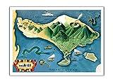 Karte von Bali, Indonesien - Tanáh (Tanah) Lot balinesischer Tempel - Vintage Illustrierte Landkarte von Miguel Covarrubias c.1930s - Premium 290gsm Giclée Kunstdruck - 30.5cm x 41cm