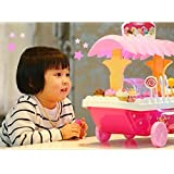 KAGVAD Sweet Shop Trolley Kitchen Cart Luxury Battery Operated With Music & LED Lights Ice Cream Trolley Shop Set For Kids Pretend Roll Play Sweet Cart Real Toy Play Set Learning & Educational Toys Set Birthday Gift Option For Girls & Boys 3+