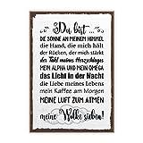 TypeStoff Holzschild mit Spruch – Du Bist Meine Wolke Sieben – im Vintage-Look mit Zitat als Geschenk und Dekoration Zum Thema Liebe und Beziehung (19,5 x 28,2 cm)