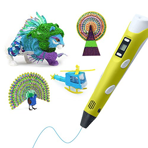 3D Stift,Colourstone Intelligent Pen Druck 3D Display LED Mit Fuß Perle Stift und Filamente für die Schaffung und die Malerei Doodling,großes Geschenk für die Malerei Lovers 3D Pen(Gelb) - 6