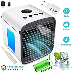 Climatiseur Air Portable Cooler - Rafraichisseur d'air et Ventilateur, 3 en 1 Mini Climatiseur Humidificateur Purificateur, Leakproof, New Filter Paper