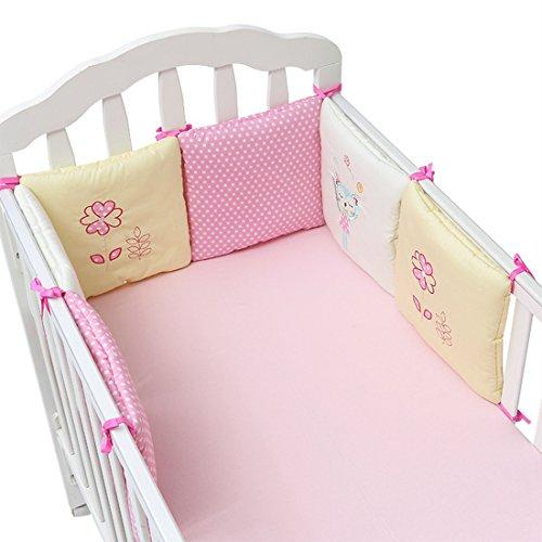 Jiyaru Ropa para cuna camas de bebé 6 Piezas Set Protector de Cuna 30 * 30 cm con Algodón Rosado