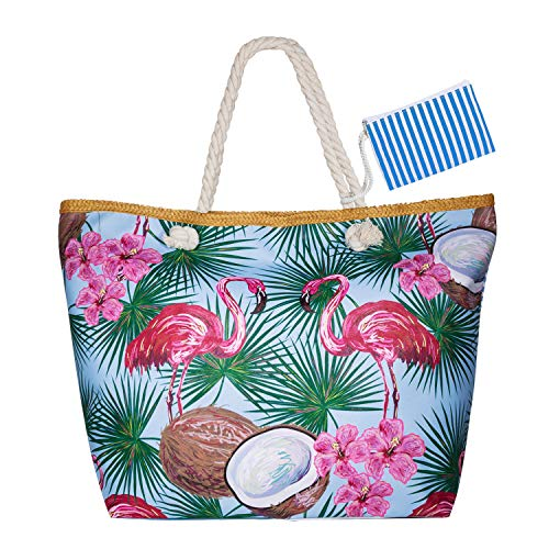 Czoele Große Wasserdicht Strandtasche mit Reißverschluss und Innentasche Sommer TascheVerschluss Damen Shopper Tasche Schultertasche Badetasche Beach Bag Umhängetasche für Damen und Mädchen (Style 11)
