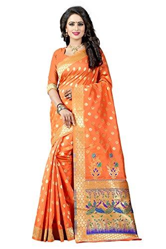 Shree Sanskruti Women's Tussar Silk Saree With Blouse Piece (Paithani 1 Orange_Orange)