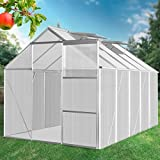 Jago Walk-in Green House 10.38 m³ Polycarbonate Garden Plants Growhouse 370/190/183 cm