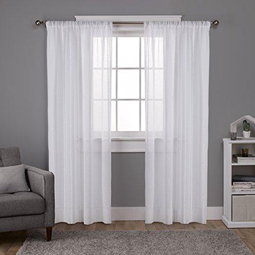 Exclusive Home Vorhänge Santos Strukturierte Leinen Sheer Rod Pocket Fenster Vorhang Panel Paar, Winter, weiß, 54x 96 (Weißes Leinen Vorhänge 96)