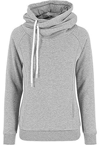 Urban Classics Pullover Raglan High Neck Hoody - Pull Femme, Gris (Grau) - Medium (Taille fabricant: Medium)