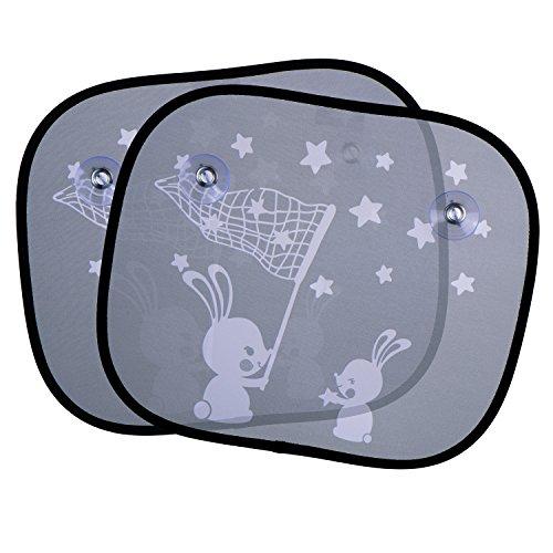 eBoot 2 Pezzi Tendine Parasole di Finestra per Auto Lato Finestra Ombra Conigli Bianchi UV Tende per Sedili Posteriori di Bambini Neonati Bimbi