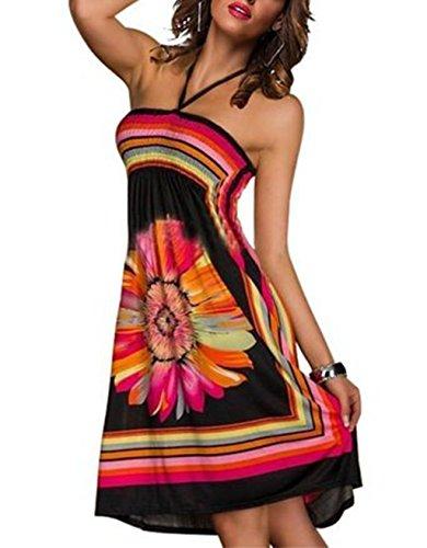 Shinekoo Femmes Été Sans Manches Floral Impression Bandeau Plage Robe Robe De Soirée Color1