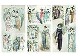 Papier fur Scrapbooking und Decoupage (12 blatt 20x30cm) K?ken Parisien Mode FLONZ Vintage