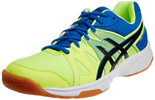 ASICS Men's Gel-Upcourt Flash Yellow, Black and Portapia Synthetic Badminton Shoes - 6 UK