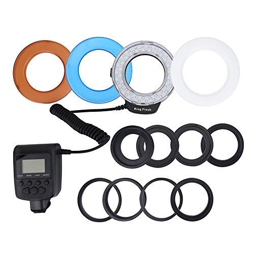 EBTOOLS Portatile 48 Macro LED Anello Flash Luce di riempimento Batteria con filtri Colorati Fotografia Adattatore per Fotocamere Canon Nikon