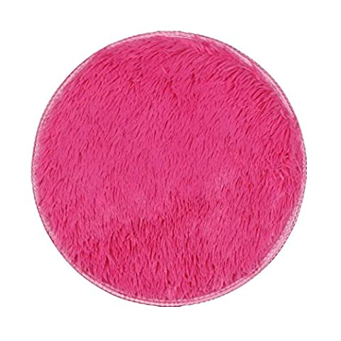 Covermason Soft Thickened Circular Rug Carpet Mats For Dining Room Bedroom Floor 40X40CM (Hot Pink)