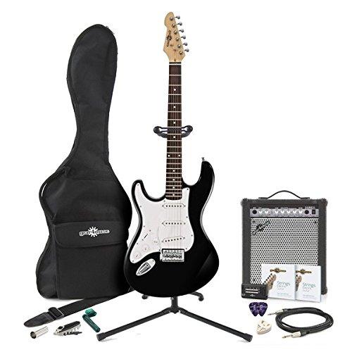 Guitarra Electrica LA Zurda + Pack de Ampli de 35W - Negro