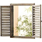Shuttered rústico–Marco de espejo de pared con diseño de espejo con marco de madera y obturador producto SKU: hd223944