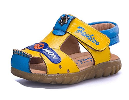 Ohmais Enfants Chaussure bebe garcon premier pas Chaussure premier pas bébé sandale en cuir souple Jaune bleu