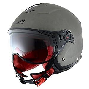 casco: Astone Helmets MINISPORT-MTIL Minijet Sport - Casco de motocicleta, Gris Mate, L