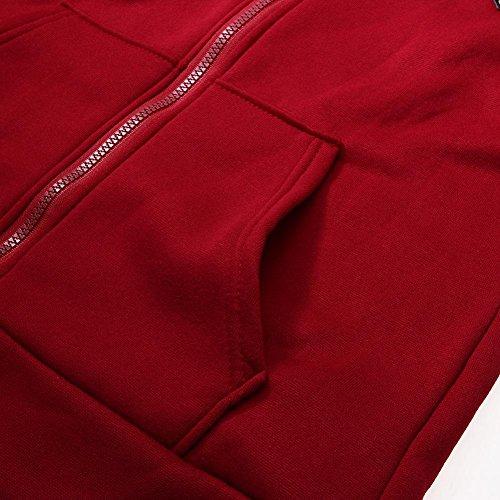 La Cabina Femme Sweat-shirt à Capuche Zippé Mode Loose Manteau avec Poche Manches Longues Grand Taille Tops Pullover Couleur Unie Pull à Capuche Casual et Sport Bourgogne