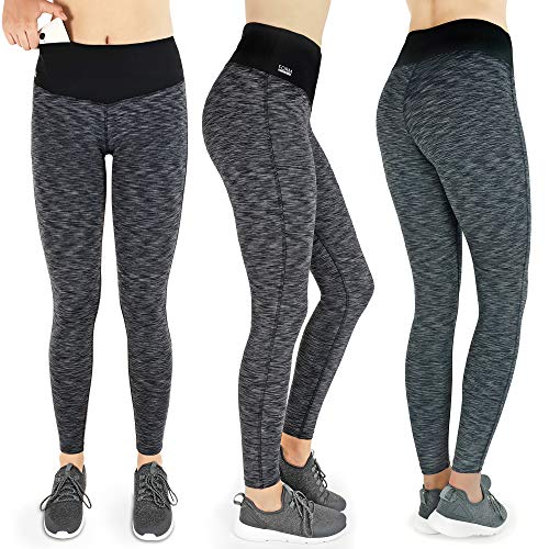 Produktbild Formbelt [Damen Leggings schwarz-grau S] Laufhose Sport Tights mit Tasche lang - Leggins Stretch-Hose hüfttasche für Smartphone iPhone Handy Schlüssel (schwarz-grau,  S)