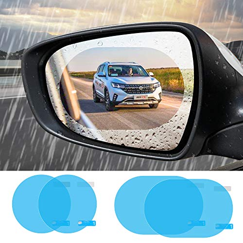 Furado Auto Rückspiegel Wasserdichte Folie, Autozubehör Motorradzubehör Regenfest/Wasserdicht/Anti-Fog/Anti-Stain/Kratzfest Auto Aufkleber for Alle Auto Rückspiegel (95 * 95mm x 2/135 * 95mm x 2)