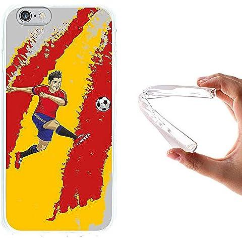 WoowCase - Funda Gel Flexible { iPhone 6 6S } Jugador de Fútbol Bandera España Carcasa Case Silicona TPU Suave