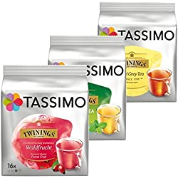 Tassimo Twinings Set de thés Deluxe 3 variétés Fruits des bois Earl Grey Thé vert 48 capsules