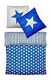Fleuresse Biber Bettwäsche Davos Sterne blau 155x220 cm (133587-22)
