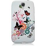 Xtra-Funky Exclusive - Carcasa protectora trasera para Samsung Galaxy S4 i9500/i9505 (silicona), diseño floral con mariposas B11-Multicoloured Butterflies