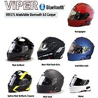 Viper RSV-171 – Casco para moto con Bluetooth, panel delantero, negro brillante