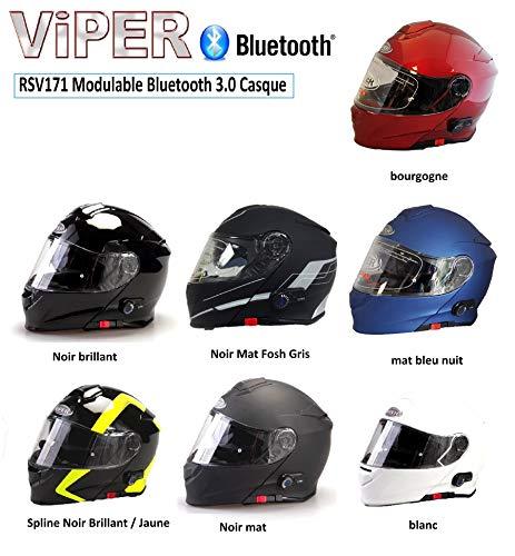 VIPER RS-V171 BLUETOOTH AUFKLAPPBAR VORNE MOTORRAD HELM - Schwarz/Gelb Keilwelle, X-Large