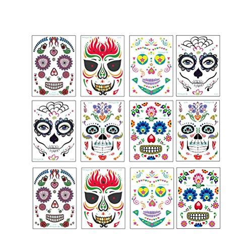 Halloween Facial Tattoo Aufkleber Floral Ghost Sugar Skull Tag des Tages der Toten Temporäre Gesichtstattoos für Party Kostüm Maskerade ()