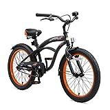 BIKESTAR Premium Sicherheits Kinderfahrrad 20 Zoll für Jungen ab 6-7 Jahre | 20er Kinderrad Cruiser | Fahrrad für Kinder Schwarz