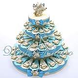Torta Portaconfetti Magnete Unicorno Celeste (60 Pezzi)