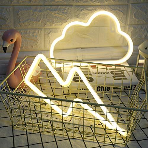 ENUOLI LED de luz de neón Nube de la muestra de neón y Rayo señal de neón cálida combinación colgante blanca de neón iluminación del humor de la batería/USB Operado de neón luz de la noche luz de l
