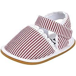 Estamico bebé de goma suela de zapatos de cerrado-dedo del pie de verano sandalias infantiles,Raya rojo 12-18 meses