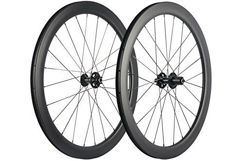 WINDBREAK BIKE Carbon Fiber Road Disc Brake Wheelset 50mm Clincher Wheels 25mm Width (Six Bolt Hub, QR Type Front 9*100mm Rear 10*135mm) (Front Hub Qr)