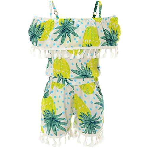 Mädchen Jumpsuit Ärmellos Stoff Overall Einteiler Onesie Body Kleid 21785, Farbe:Weiß, Größe:152