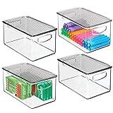 mDesign Juego de 4 cajas organizadoras con asas integradas – Caja de almacenaje para cocina, baño o material de oficina – Organizador de escritorio con tapa en plástico – transparente y gris