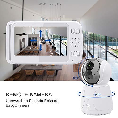 Bable Babyphone mit Kamera G1, 5 Zoll Großer Bildschirm Babyfon mit Fernbedienung Kamera, 300 Meter Signalreichweite, automatische Verfolgung, Ton und Temperaturalarm, Nachtsicht, Wiegenlied und Zweiwege Audio - 3